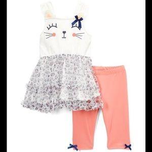 Nannette Cat Glitter Mesh Tunic & Coral Bow Shorts